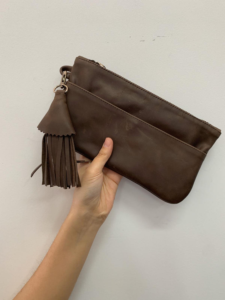 Zipper wallet- Leather purse - Chocolate brown