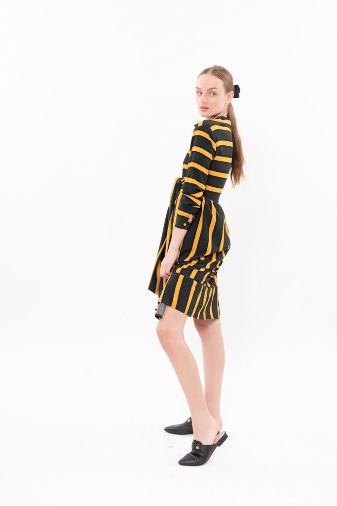 Winter 20 - Nurse Dress - Green and Yellow stripes
