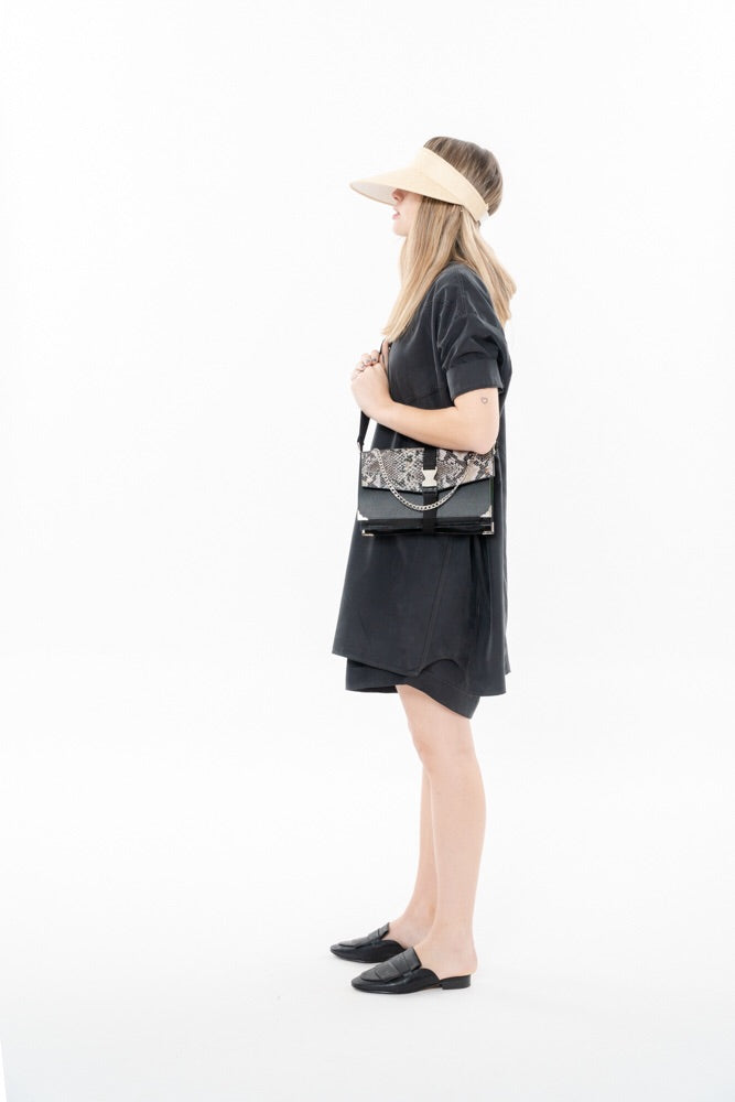LIRA BAG - BLACK WITH SNAKE PRINT