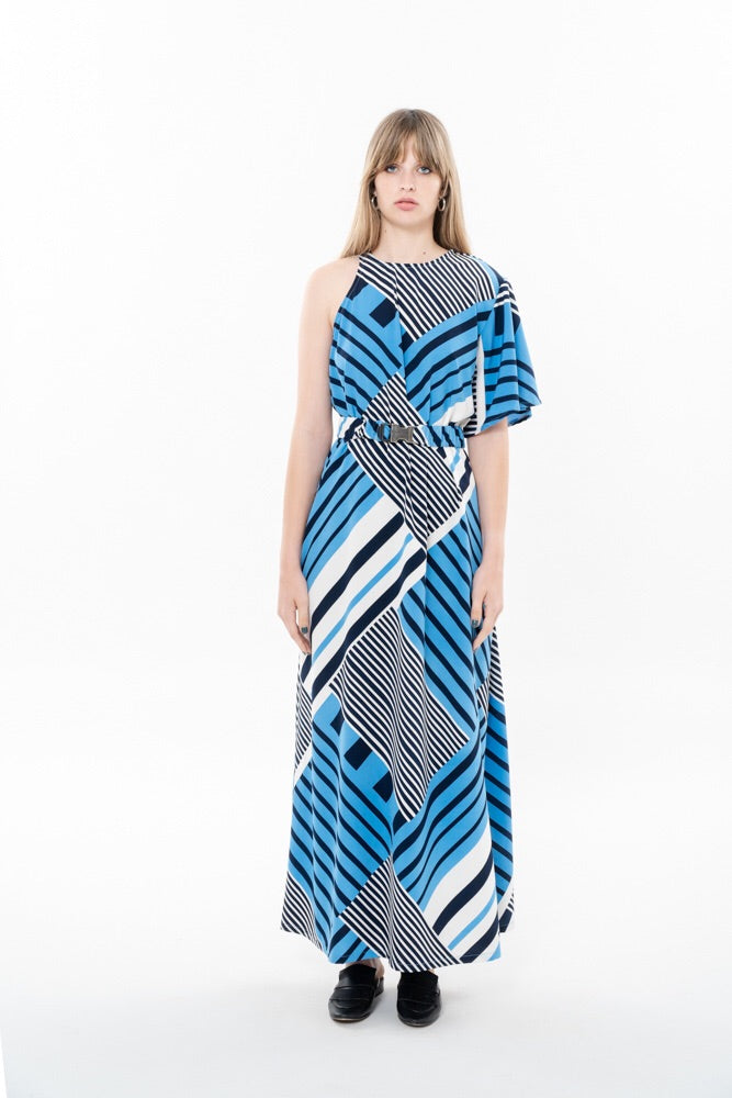 SPLIT DRESS - BLUE AND BLACK STRIPES
