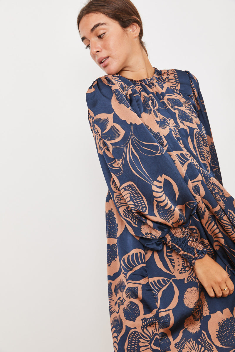 Winter 2021 - Diver Dress - Blue and Brown print