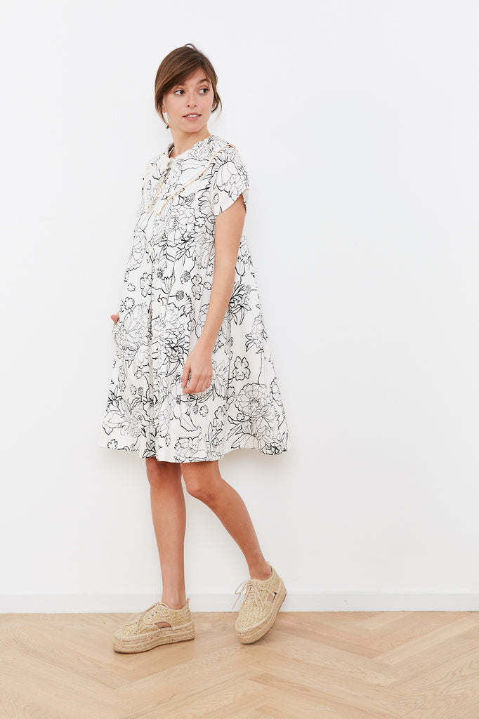 Summer 2020- White and Black print Hanale Dress with detachable collar