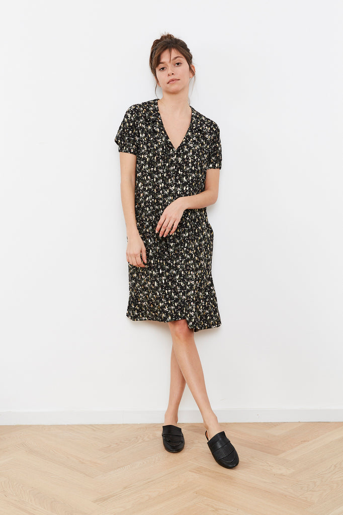 Summer 2020 - Bell 🔔 Dress - Black with flowers print and gold foil