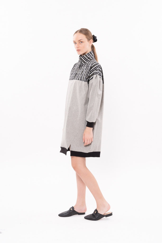 Winter 20 - Lucky cat Dress -    Gray with blue and green checkered