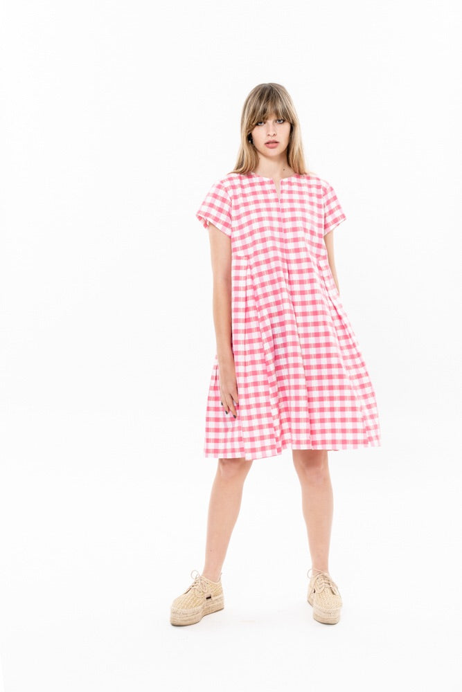 HANALLE DRESS - PINK CHECKERED
