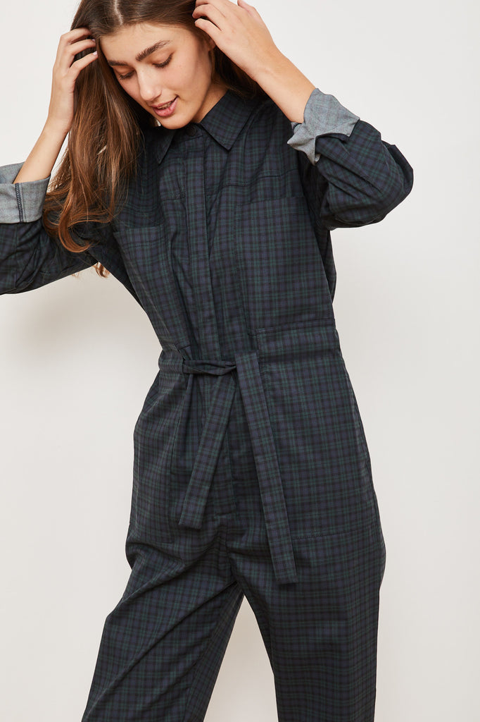 Winter 2021 - Ada Maxi Jumpsuit - Blue and Green Scottish squares