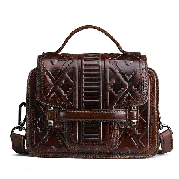 Luxury Engraved Genuine Leather  Handbag Crossbod