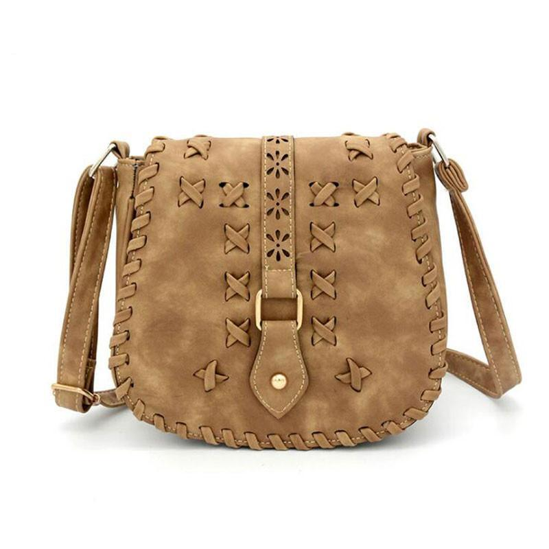 High Quality Vintage Women Shoulder Messenger Bags Knitting Crossbody Bags Designer Handbags PU Leather