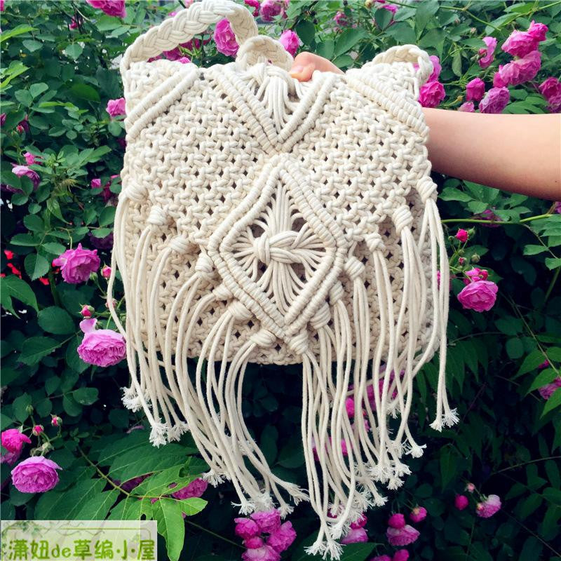 Bohemian Crochet Fringed Tassel Shoulder Bag