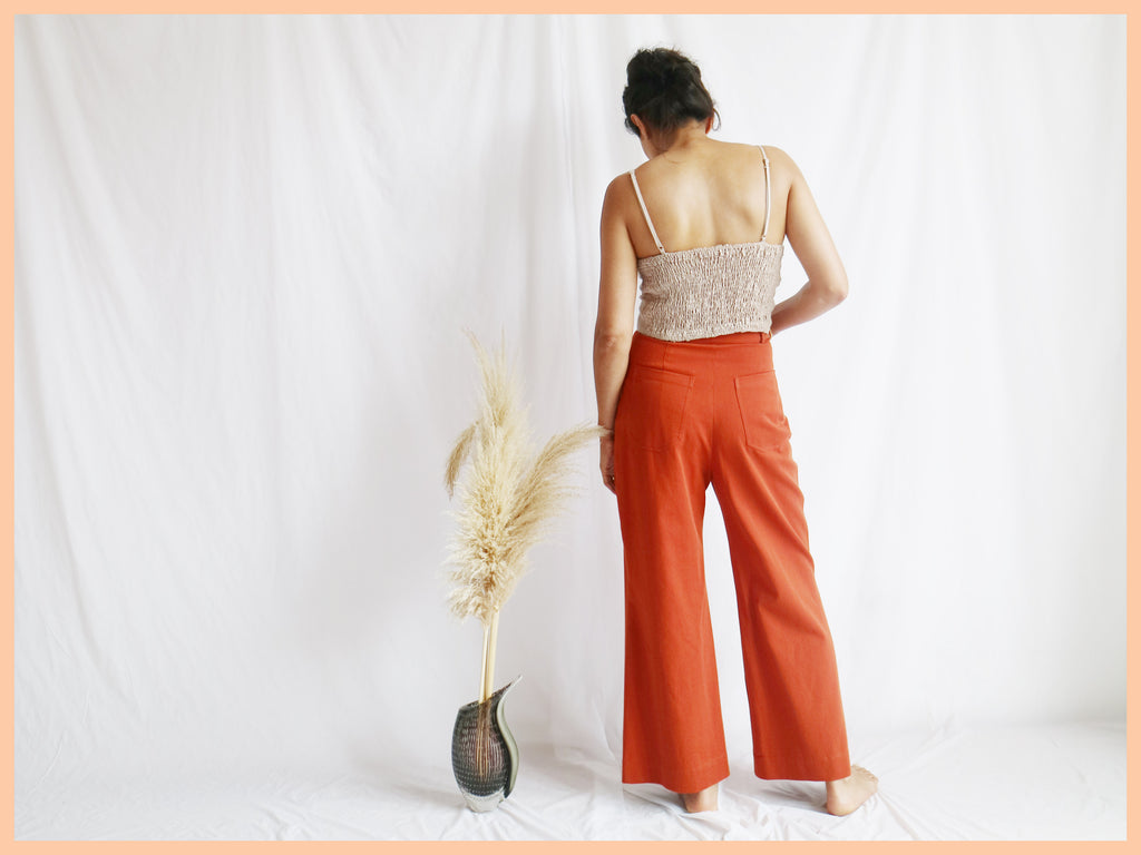 High waisted culottes burnt orange