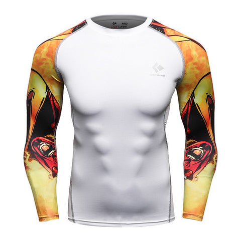 Mens MMA Rashguard white with graphic sleeve
