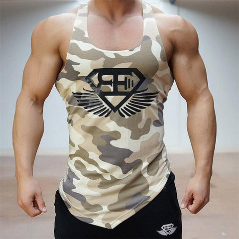 Mens Camo bodybuilding workout tank top