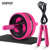 Ab roller with exercise mat and skipping rope pack