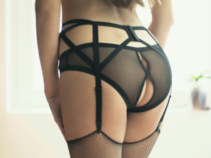 open back sexy black mesh panties