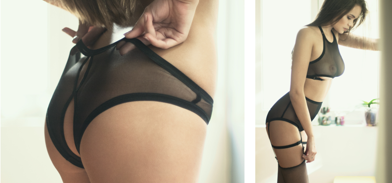 erotic lingerie open back knickers suspender belt