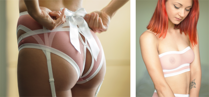 pink and white open back panties bow suspender belt