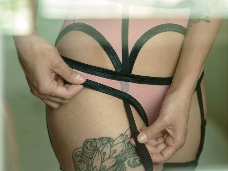 05 pink and black panties sheer mesh sexy lingerie
