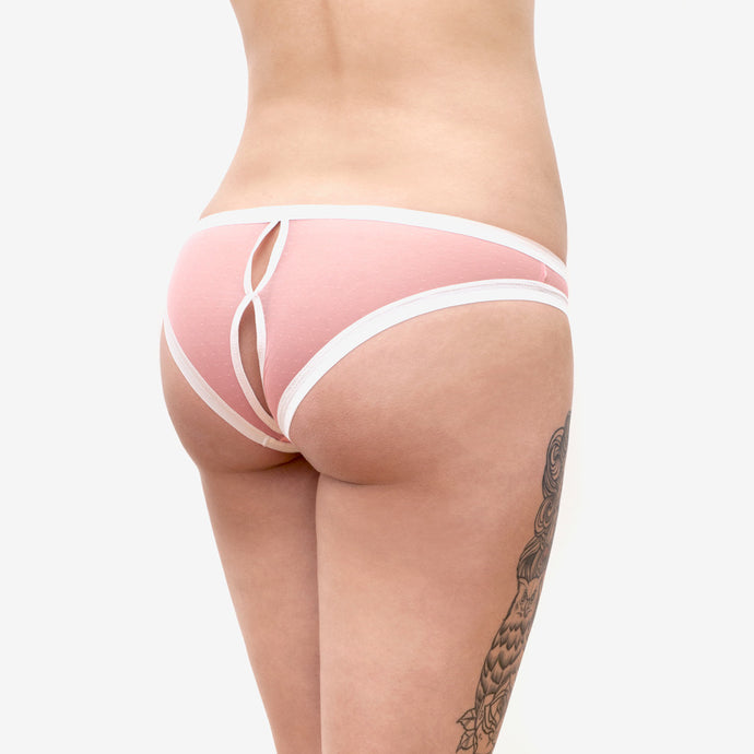 baby doll open back pink panties sheer mesh