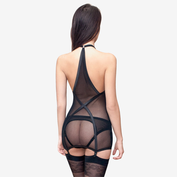 black sheer sexy lingerie suspender dress