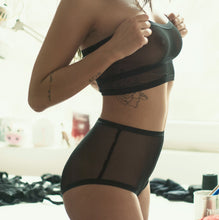 high waisted knickers sheer black mesh basic look independant hipster lingerie brand