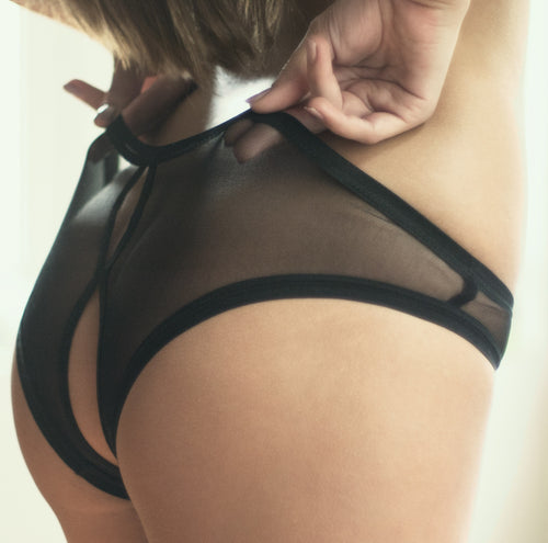 open back see thru black mesh panties sexy lingerie lena collection
