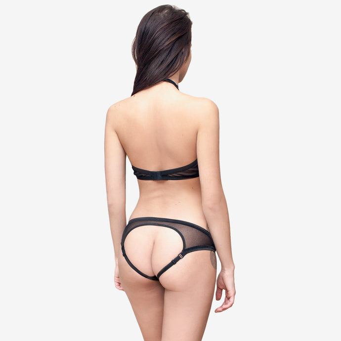 open back naughty sheer black panties mesh bralette