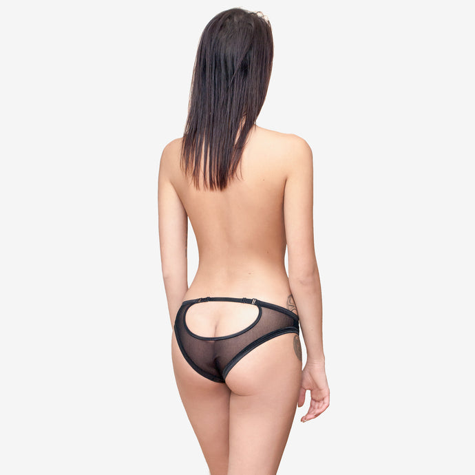 open back sheer black mesh panties sexy knickers