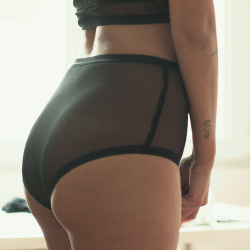 see thru black mesh highwaisted panties lena-lena handmade lingerie