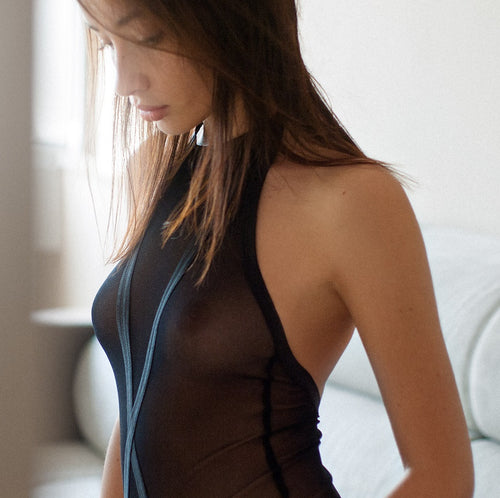 sexy black body sheer mesh halter neck