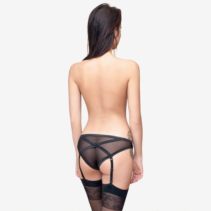 black sheer lace sexy set suspender panties