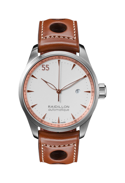 Raidillon, 55, timeless, watch, timepiece, Swiss made, Valjoux, design, Belgium, limited édition, lifestyle, cars, car racing, Spa-Francorchamps, gentleman driver, montre, Belgique, série limitée, voitures, course automobile