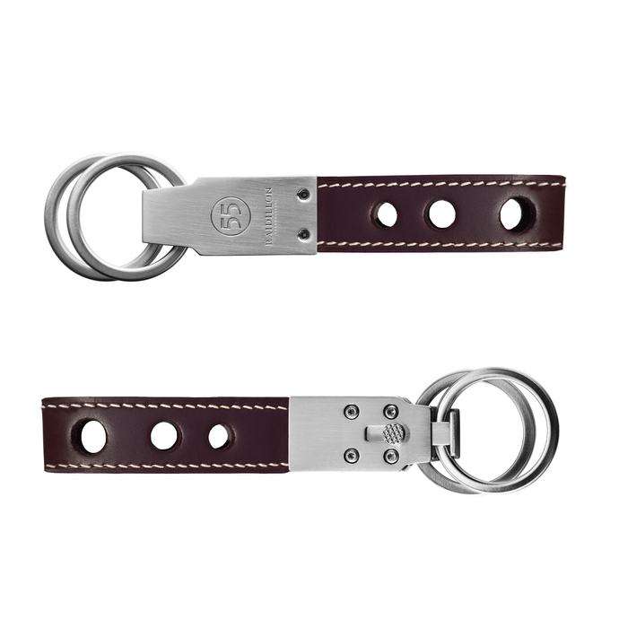 Key Ring: Burgundy - Natural