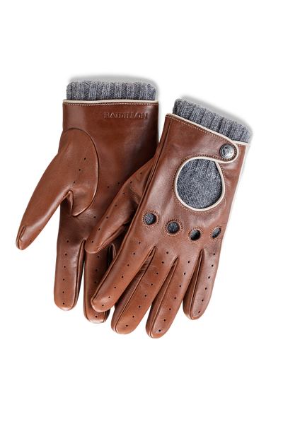 Timeless Gentleman Racing Gloves with Cashmere Lining: Cognac - Grey