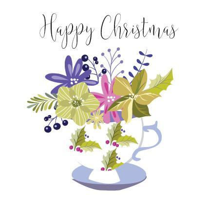 XM21 Happy Christmas Teacup Flowers