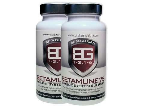 Two 75 capsule Betamune75 tubs - Vitalize Health Products Ltd