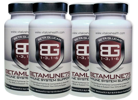 Four 75 capsule Betamune 75 Tubs - Vitalize Health Products Ltd