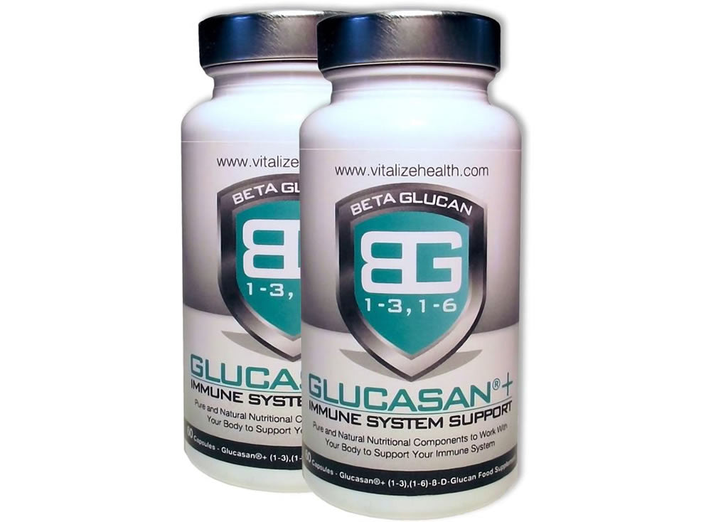 Two 60 capsule Glucasan tubs - Vitalize Health Products Ltd