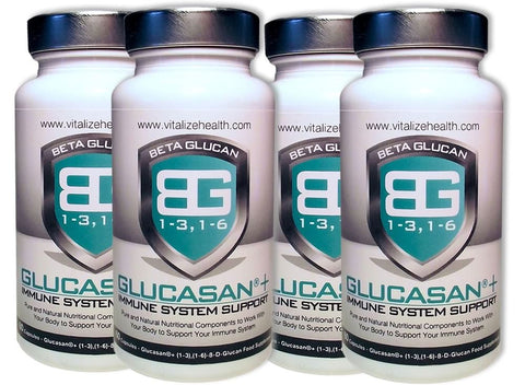 Four 60 capsule Glucasan tubs - Vitalize Health Products Ltd