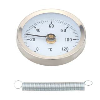 0-120 Degree High-precision Thermometer Bimetal Stainless Steel Surface Pipe Thermometer Clip-on Temperature Gauge With Spring