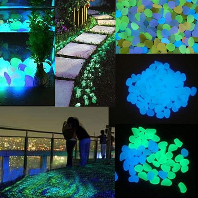 100pcs/set Home Decoration Luminous Pebbles Stones Glow In The Dark Garden Ornament For Walkway Fish Tank Crafts