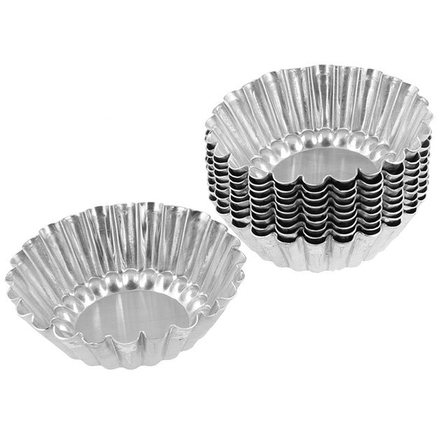 10pcs Silver Aluminum Cupcake Egg Tart Mold Cookie Pudding Mould Makers Kitchen Accessories Baking Pastry Tools