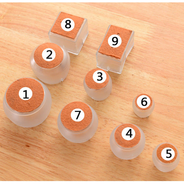 10pcs Silicone Rectangle Square Round Chair Leg Caps Feet Pads Furniture Table Covers Wood Floor Protectors