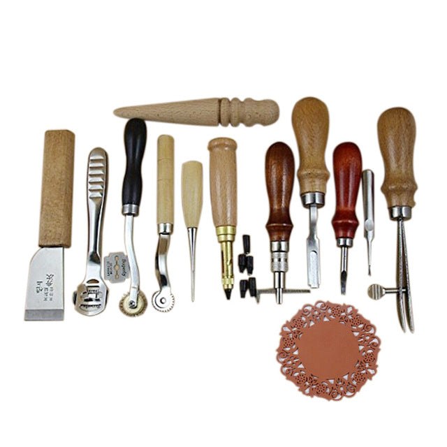 12pcs Professional Leather Craft Tools Hand Stitching Leathercraft Tool Diy Punch Hole Accessory