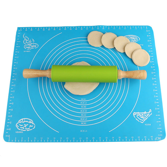 15 Inch Wooden Silicone Rolling Pin Cake Pizza Noodles Dumplings Baking Cooking Tools Fp8