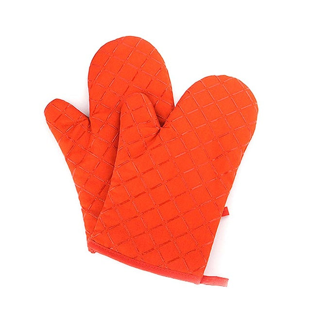 1pair Microwave Oven Gloves Insulation Silicone Oven Mitts Non-slip Kitchen Bbq Cooking Gloves Bakeware Cake Tool