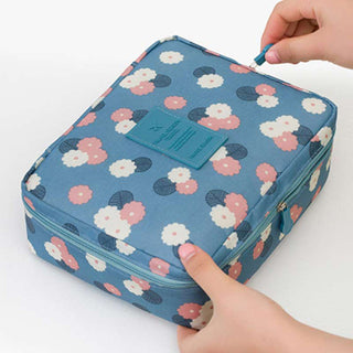 2 Layers Travel Cosmetic Storage Bag Waterproof Flower Pattern Makeup Organizer Portable Toiletry Hangbag