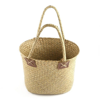 2 Pcs/set Pastoral Style Seagrass Weave Flower Basket Sundries Storage Tote Bag Household Decorative Flowerpot Handmade Craft