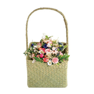 2 Pcs/set Square Seagrass Woven Flower Basket Household Sundries Storage Tote Bag Home Decorative Flowerpot Handmade Craft