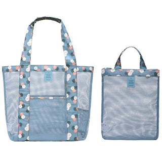 2 Pieces Summer Beach Mesh Tote Bag And Should Bag Travel Swimming Zipper Toiletry Handbag With Large Pocket