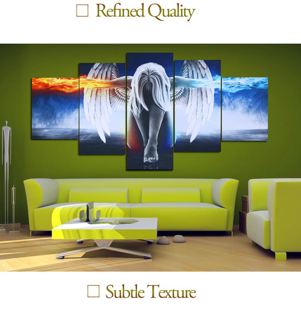 Jingsheng Hd Printed 5 Piece Canvas Art Angel With Wings Painting Bedroom Decor Print Poster Wall Art